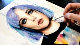 getlinkyoutube.com-【WATERCOLOR PORTRAIT】Alice Glass (ex Crystal Castles)