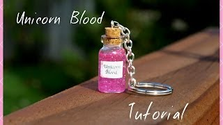getlinkyoutube.com-Easy Unicorn Blood Keychain Tutorial Mini Glass Bottle Vial Charm Beginner