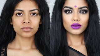 Desi/Indian/Bangladeshi Makeup: Smokey Eyes +Purple Lips width=