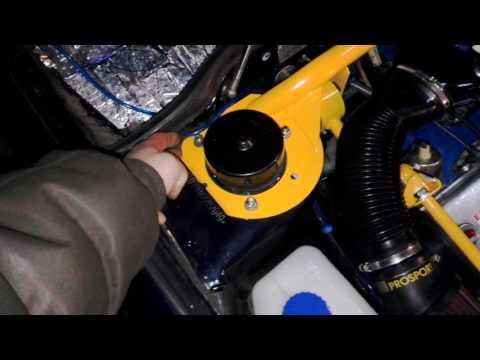 Установка растяжки передних стоик,с доп.креплением к двигателю.