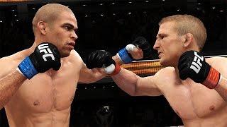 Simulación del TJ Dillashaw vs. Renan Barao II en UFC 177 a cargo de EA Sports