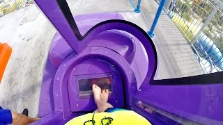 Rapids Water Park - Purple Brain Drain [NEW 2016] SuperLOOP Trapdoor Slide