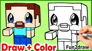 getlinkyoutube.com-How to Draw Steve Minecraft Cute & Easy + Color step by step - Fun2draw