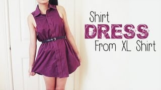 getlinkyoutube.com-DIY ✂ Shirt Dress from Men's Shirt (Easy Reconstruction)