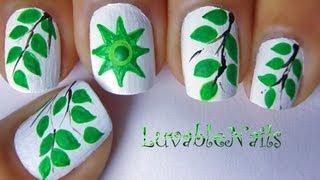 getlinkyoutube.com-Earth Day-Go Green nail art by LuvableNails