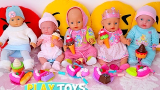 getlinkyoutube.com-Baby Dolls eat Ice Cream & Velcro cutting cake toys