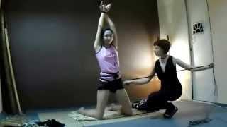 getlinkyoutube.com-Shibari improvisation - Psiheya ties Nelly into a pretzel