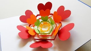 getlinkyoutube.com-Pop up card (radiant hearts) - learn how to make a heart flower greeting card - EzyCraft
