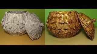 getlinkyoutube.com-Papierowa wiklina - przykrywka do wazy