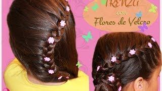 getlinkyoutube.com-Peinado para fiesta - Trenza y flores de lado. Peinado infantil , para fiesta o novias.