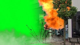 getlinkyoutube.com-Big Explosion with charges and sound - green screen footage