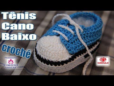 Tênis em crochê cano baixo azul - Professora Simone