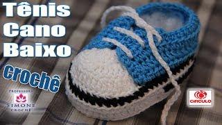 getlinkyoutube.com-Tênis em crochê cano baixo azul - passo a passo - Professora Simone