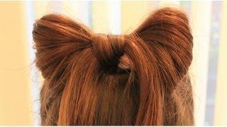 ハーフアップで簡単リボンヘア Half up hair Bow