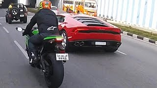 getlinkyoutube.com-Lamborghini Huracan vs Ninja ZX10R?! | Ride to IPC #2 | POV Adventures