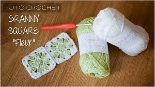 """getlinkyoutube.com-Granny Square """"fleur"""" facile au crochet"""