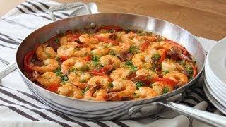 getlinkyoutube.com-Quick & Easy Paella - Oven Baked Sausage & Shrimp Paella Recipe