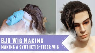 getlinkyoutube.com-Making a BJD wig with synthetic fibers