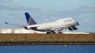 getlinkyoutube.com-Canon SX280 - 1080 60p Raw Video - United 747-400 take off - Sydney Airport