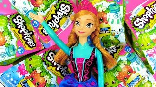 getlinkyoutube.com-Disney Shopkins 1 Pack Mystery Blind Bag Basket Opening Unboxing Review Princess Anna