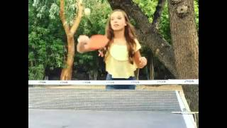 Maddie Ziegler playing ping pong