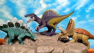 getlinkyoutube.com-15 Mini Dinosaurs Toys from Schleich. Jurassic World - T Rex, Spinosaurus, Triceratops, Stegosaurus