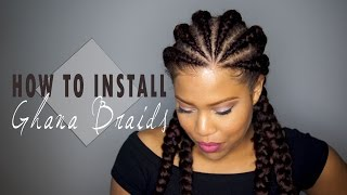 getlinkyoutube.com-How to install Ghana Cornrows / Invisible Cornrows on Natural Hair