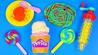 getlinkyoutube.com-Play Doh Twirl 'n Twister Ice Cream Sweet Shoppe Play Dough Lollipops Plastilina Frozen Barbie