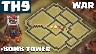getlinkyoutube.com-NEW TH9 War Base WITH BOMB TOWER [Anti 3 Star] - Clash of Clans