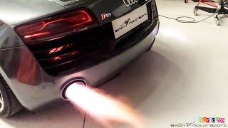 getlinkyoutube.com-Audi R8 V10 Plus - IPE F1 exhaust sound & flames at SimonMotorSport Dubai