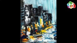 getlinkyoutube.com-Rainy Day City Street Pallet knife Acrylic Painting on Canvas for Beginners