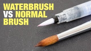 getlinkyoutube.com-Waterbrushes vs normal brushes for watercolor