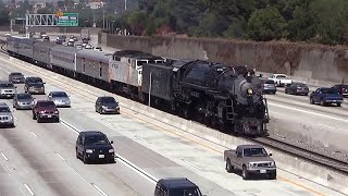 Steam Train in the middle of the Freeway - Santa Fe 3751 width=