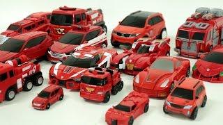 Red Color Transformers Carbot Tobot Miniforce Robot Car Toys 빨간색  헬로카봇 또봇 미니특공대 트랜스포머 자동차 장난감 변신 동영상