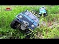 9 trucks mudding! Tamiya CC01 Defender Land Cruiser Axial Wraith RC offroad adventures