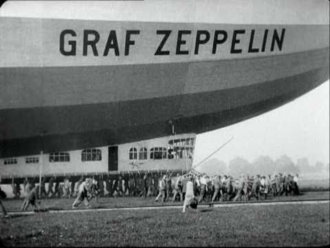 Airship Zeppelin's flight to Berlin, Germany in 1929