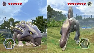 getlinkyoutube.com-LEGO Jurassic World - Spinosaurus vs Ankylosaurus - CoOp Fight | Free Roam Gameplay [HD]