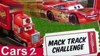 getlinkyoutube.com-Cars 2 Motorized Mack Track Challenge Playset With Speedway Launcher Disney Pixar by Blucollection