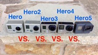 GoPro Hero5 vs Hero4 vs Hero3 vs Hero2 vs Hero - Video Quality & Slow Motion