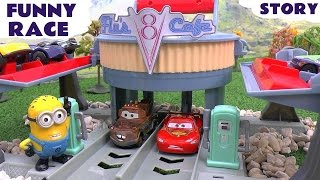 getlinkyoutube.com-Cars Funny Race Minions Play Doh Thomas and Friends Star Wars Angry Birds Cars Flo's V8 Cafe