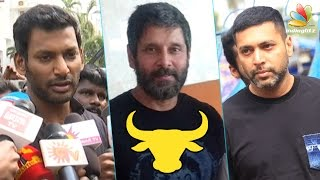 getlinkyoutube.com-Real heroes are in Marina | Vikram, Vishal at Nadigar Sangam Protest