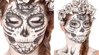 getlinkyoutube.com-Sugarskull Sketch Makeup Tutorial