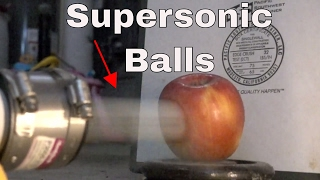 Shooting Fruit With Supersonic Ping Pong Balls   First Vacuum Cannon Test