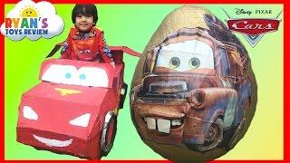 getlinkyoutube.com-GIANT EGG SURPRISE OPENING Disney Cars Toys Tow Mater Lightning McQueen Kids Video Ryan ToysReview