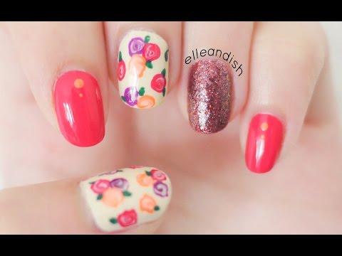 Easy Fall Floral Nails (No Nail Tools!)