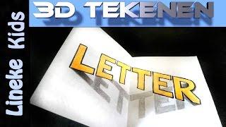 getlinkyoutube.com-Hoe teken je 3D Letters / 3D tekenen / # 29