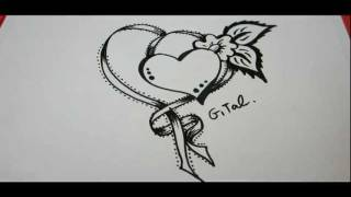How To Draw Ribbon With A fancy Heart And Flower