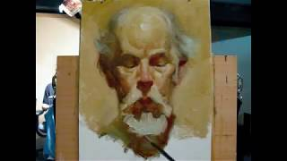 "getlinkyoutube.com-""The poet"", alla prima portrait demo of Gregory, a 130 minutes painting by Zimou Tan"