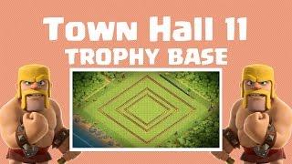 getlinkyoutube.com-Clash of Clans - TH11 Legend League Trophy Base! + 25 new Walls
