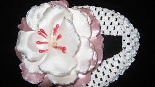 getlinkyoutube.com-DIY Повязка для волос с нежным цветочком. Мастер-класс \ Hair ornament
